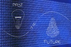 Past and future with normal and circuit lightbulbs and plug in b Royalty Free Stock Photography