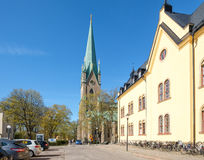 Linkoping cathedral during spring in Sweden Stock Images