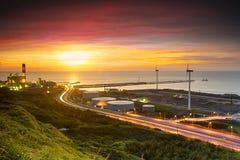 Linkou thermal field sunset, Taiwan Stock Photo