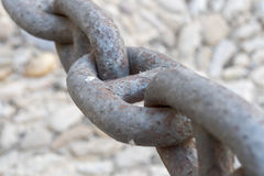 Links in a big old rusty chain Royalty Free Stock Images