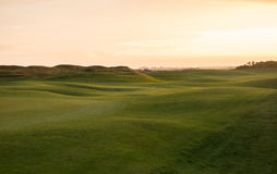 Links golf hole with rolling fairway in evening light. Links golf hole with rolling fairway in warm evening light Royalty Free Stock Photo