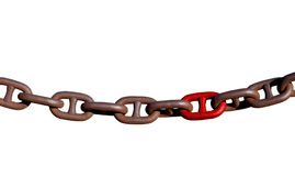 Links of a heavy rusted chain isolated. Several links of an old heavy rusted industrial chain with one bright red link. Isolated on white stock photography