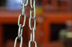 Links of a metal chain close up Royalty Free Stock Images