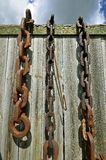 Links of old steel chains Stock Photo