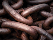 Links in strong aged iron chain Royalty Free Stock Photos