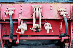 Links wagon mechanism of an old steam train. Industrial shot with links wagon mechanism of an old steam train stock photography