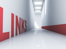Links Website. Rendering of a red links text in a white corridor