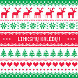 Linksmu Kaledu - Merry Christmas greetings card in Lithuanian - winter pattern style with reindeer Royalty Free Stock Image