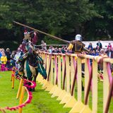Annual Medieval jousting tournament at Linlithgow palace, Scotla. LINLITHGOW, SCOTLAND, JUL 3, 2016. Annual Medieval jousting tournament at Linlithgow palace stock photos