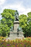 Linné monument in HumlegÃ¥rden, Stockholm. Linnaeus monument is a statue in Humlegården in the inner city of Stockholm, representing Carl von Linné. It stock photos