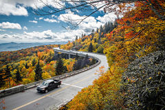 Linn Cove Viaduct carries the Blue Ridge Parkway around the slop. Es of Grandfather Mountain in  North Carolina Royalty Free Stock Photo