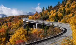 Linn Cove Viaduct. Is a concrete bridge that connects the Blue Ridge Parkway around the slopes of Grandfather Mountain in North Carolina Royalty Free Stock Photos