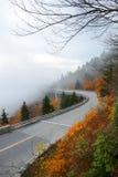 Linn Cove Viaduct on foggy autumn morning. Stock Photography