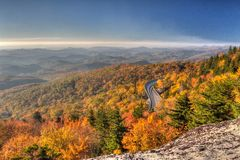 Linn Cove Viaduct panorama at sunrise, Blue Ridge Parkway Stock Photo