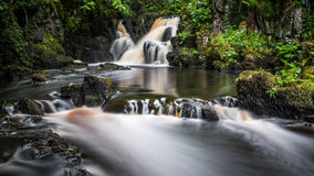 Linn Jaw Waterfall. A long exposure image of Linn Jaw waterfalls shortly after a prolonged spell of wet weather royalty free stock photos