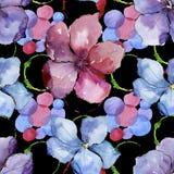 Lino colorido Flor botánica floral Modelo inconsútil del fondo Textura de la impresión del papel pintado de la tela Fotos de archivo