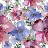 Lino colorido Flor botánica floral Modelo inconsútil del fondo Textura de la impresión del papel pintado de la tela Foto de archivo libre de regalías