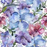 Lino colorido Flor botánica floral Modelo inconsútil del fondo Textura de la impresión del papel pintado de la tela Fotografía de archivo
