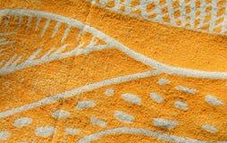 Lino print artwork on fabric Royalty Free Stock Image