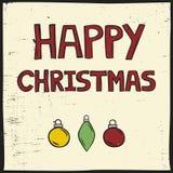 Linocut样式圣诞卡 免版税库存图片