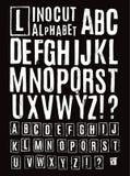 Linocut alfabet Arkivfoto