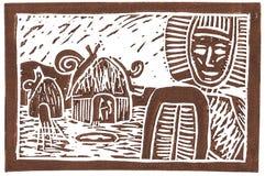 Linocut de Ethno con los caracoles gigantes Fotografía de archivo libre de regalías