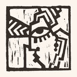 Linocut geometric character -04 Stock Photo