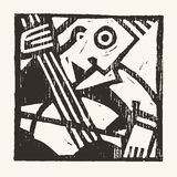 Linocut geometric character -08 Royalty Free Stock Photo