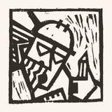 Linocut geometric character -03 Stock Image