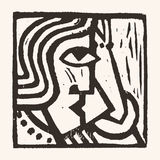 Linocut geometric character -11 Royalty Free Stock Images