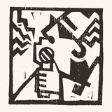 Linocut geometric character -09 Stock Images