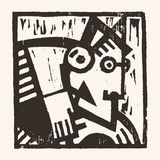Linocut geometric character -12 Royalty Free Stock Photography