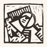 Linocut geometric character -01 Stock Photography