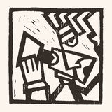 Linocut geometric character -07 Stock Photos