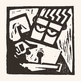 Linocut geometric character -02 Stock Photos
