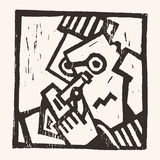 Linocut geometric character -06 Royalty Free Stock Photography
