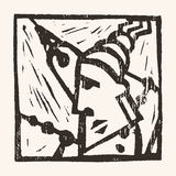 Linocut geometric character -10 Stock Photos