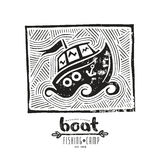 Linocut with a picture of boat Royalty Free Stock Photos