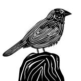 Linocut style sparrow Royalty Free Stock Photography