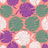 Linocut tropical Monstera leave background. Vector Illustrated tropical plants leaves seamless pattern Stock Photo