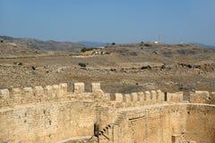 Linods Acropolis on Rhodos Ancient Archeological site, Greece Stock Photos