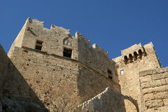 Linods Acropolis on Rhodos Ancient Archeological site, Greece Stock Photography