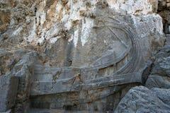Linods akropol på Rhodos den forntida arkeologiska platsen royaltyfria foton