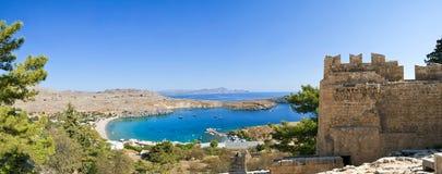 Ακρόπολη Linods στην αρχαία Archeological περιοχή Rhodos, Ελλάδα Στοκ φωτογραφία με δικαίωμα ελεύθερης χρήσης