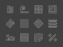 Linoleum, das weiße Linie Ikonen eingestellt ausbreitet Lizenzfreies Stockfoto