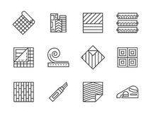 Linoleum flooring black line icons set. Building materials theme. Samples of linoleum flooring, floor covering services. Construction and renovation. Set of vector illustration