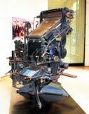 Linotype är en av apparaturen för första printing Royaltyfria Foton
