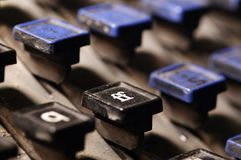 Linotype keyboard letters ff keys closeup Stock Photo