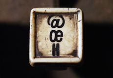 Linotype keyboard letters oe, h keys closeup Royalty Free Stock Images