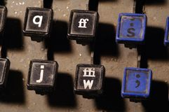 Linotype keyboard letters q, ff, s, j, w keys closeup Stock Photos
